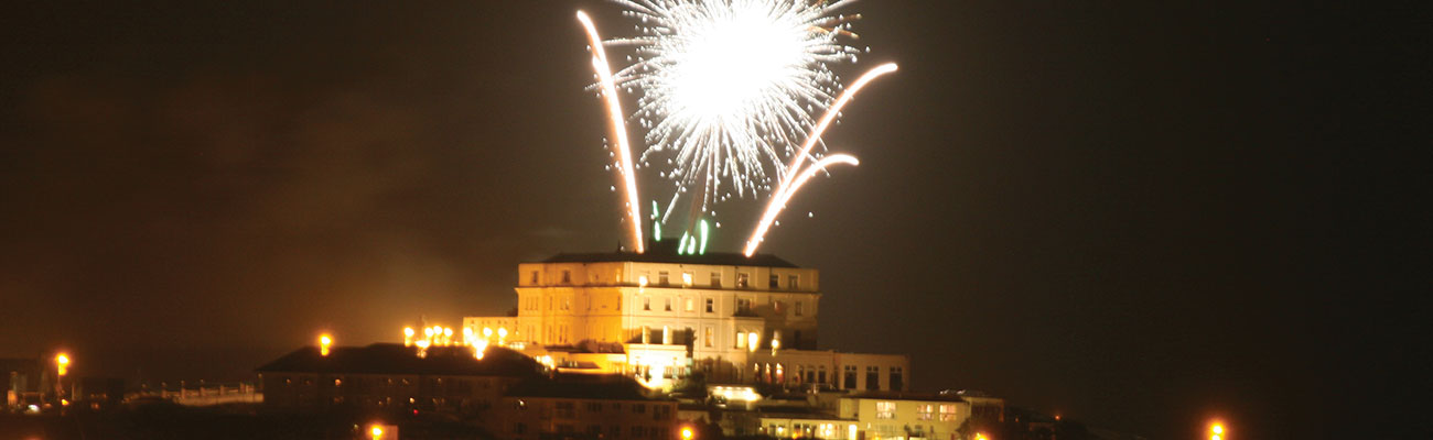 Fireworks above the hotel on New Years Eve