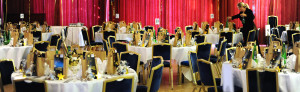 Tables laid up in preparation for an awards evening