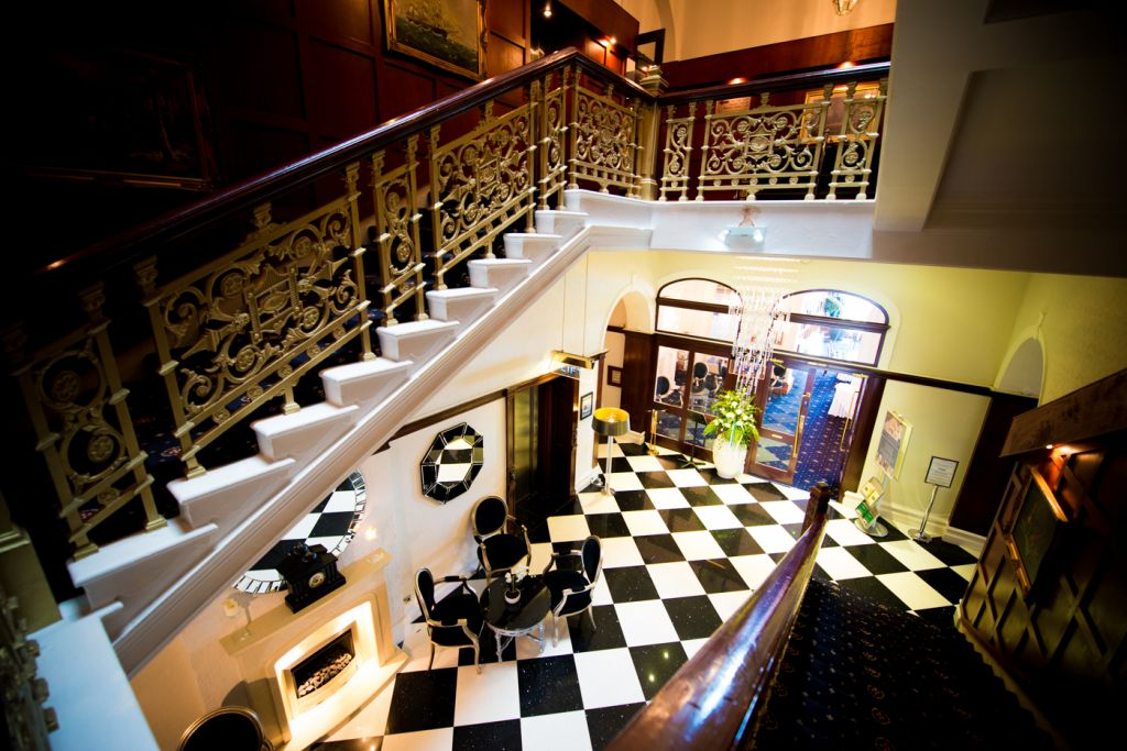 Atlantic Hotel reception and staircase